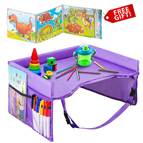 - Kids Travel Tray – Waterproof, Portable Toddler Snack and Play Station with Mesh Storage Pockets – Activity Lap Desk for Car Seat, Stroller, Plane by EverythingINplace (Purple)