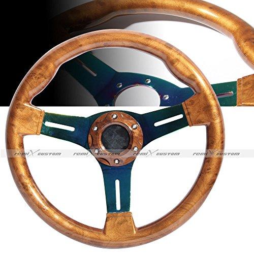 Universal 350mm Wood Grain Neon Titanium Steering (Woodgrain Steering Wheel)