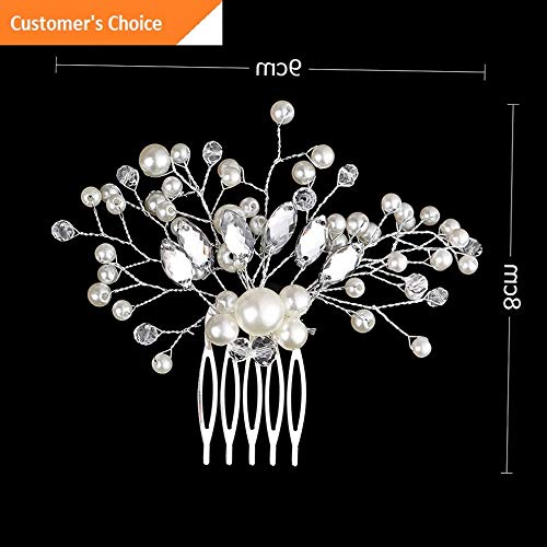 Hebel Crystal Crown Hair Combs Pearl Hair Pin Bridal Clips Rhinestone Tiara | Model HRPN - 4578 |