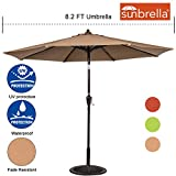 Sundale Outdoor 8.2 Ft Sunbrella Fabric Patio Garden Market Umbrella, Push Button Tilt and Crank (Camel) For Sale