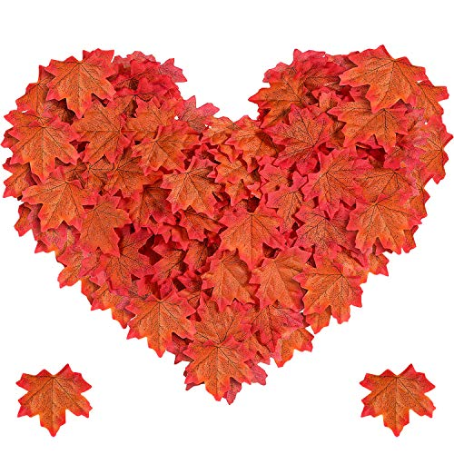 Jovitec Maple Leaves Artificial Maple Leaves Autumn Fall Maple Leaves for Wedding Table Scatters Halloween Party Home Garden Decorations (Sunset Red, 1000 Pieces) -