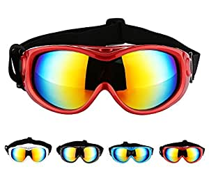 Hi Kiss Dog Goggles Large Sunglasses UV Protection for Driving Cycling and Anti-Fog,Red