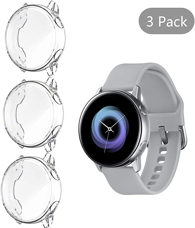 [3 Pack] LittleForest Cases Compatible for Samsung Galaxy Watch Active Case Cover, Heavy-Duty Overall Full Body Protective TPU Anti-Scratch Cover for ...