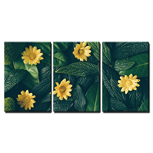 "Wall26 - 3 Piece Canvas Wall Art - Creative Layout Made of Green Leaves and White Flower. Flat Lay. Nature Concept - Modern Home Decor Stretched and Framed Ready to Hang - 16""x24\""x3 Panels"