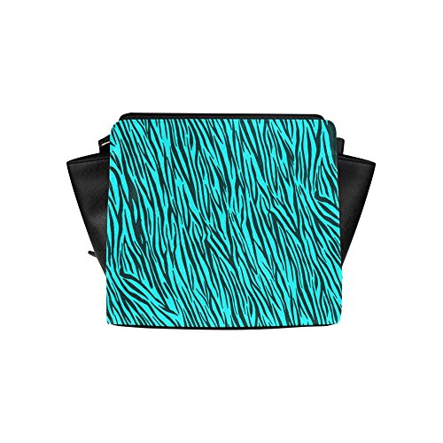 InterestPrint Satchel Bag Turquoise Zebra Stripes Animal Print Fur Satchel Handbag For Women ()