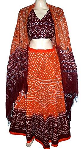 (Beautiful Brick and Orange Boho Bohemian Bandhej Lehenga)