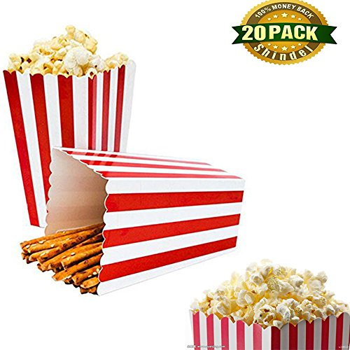 Shindel Popcorn boxes Classic Popcorn Containers Paper Bags Stripe Box for Carnival Party Movie Party Favor, 20 (Popcorn Boxes Canada)
