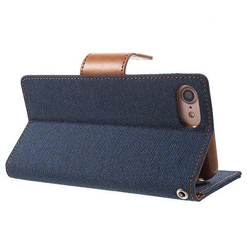 MERCURY GOOSPERY für iPhone 7 Canvas Diary Leather case - Tasche Hüllen Schutzhülle Cover - Tasche Hüllen Schutzhülle - Dark Blue