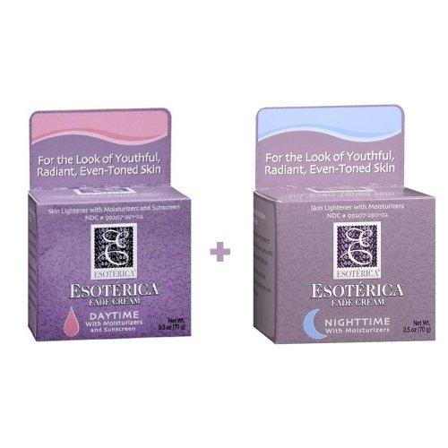 Esoterica Fade Cream Night Time with Moisturizer and Esoterica Fade Cream Daytime with Moisturizer and Sunscreen SPF 10 Facial Care Products 2.5 Oz