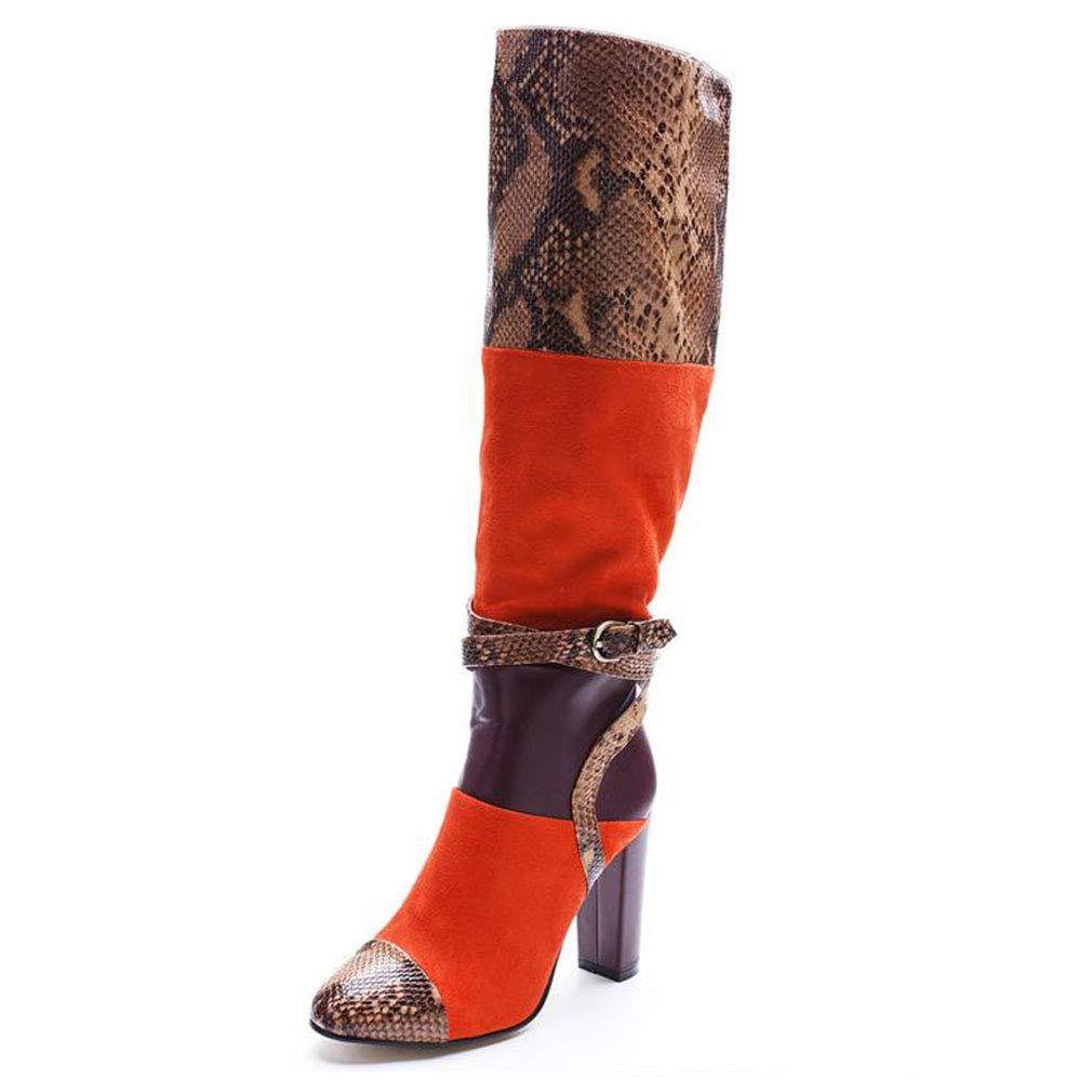 Hy Frauen Stiefel, künstliche PU Herbst/Winter Persönlichkeit Splice Fashion Stiefel, Damen Stiletto Heel Lange Stiefel, Mode Winter Stiefel (Farbe : EIN, Größe : 44)