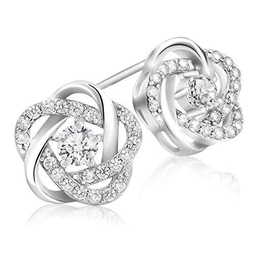 (Lusoro 925 Sterling Silver AAA Cubic Zirconia Pave Love Knot Earrings)