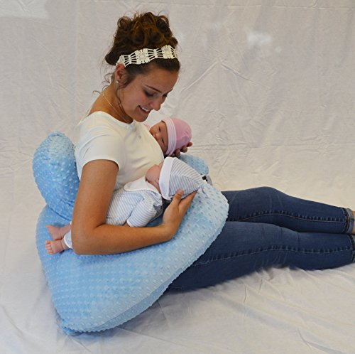 THE TWIN Z PILLOW - BLUE - 6 uses in 1 Twin Pillow ! Breastfeeding, Bottlefeeding, Tummy Time, Reflux, Support and Pregnancy Pillow! CUDDLE BLUE DOTS by Twin Z PIllow (Image #6)