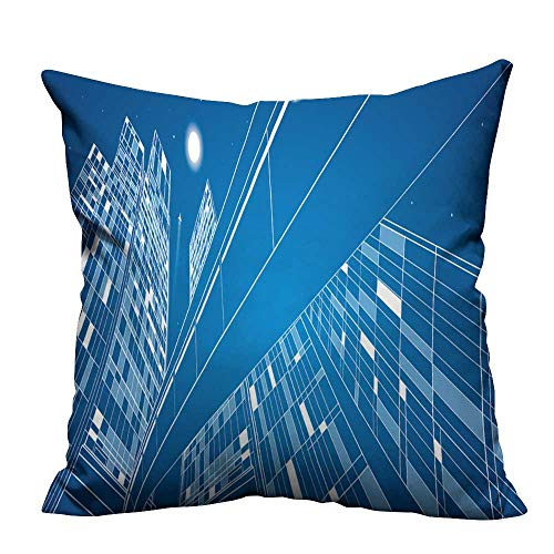 YouXianHome Decorative Throw Pillow Case Business Building,Overpass,Night City,Airplane Flying,Vector Design Panorama Ideal Decoration(Double-Sided Printing) 17.5x17.5 ()