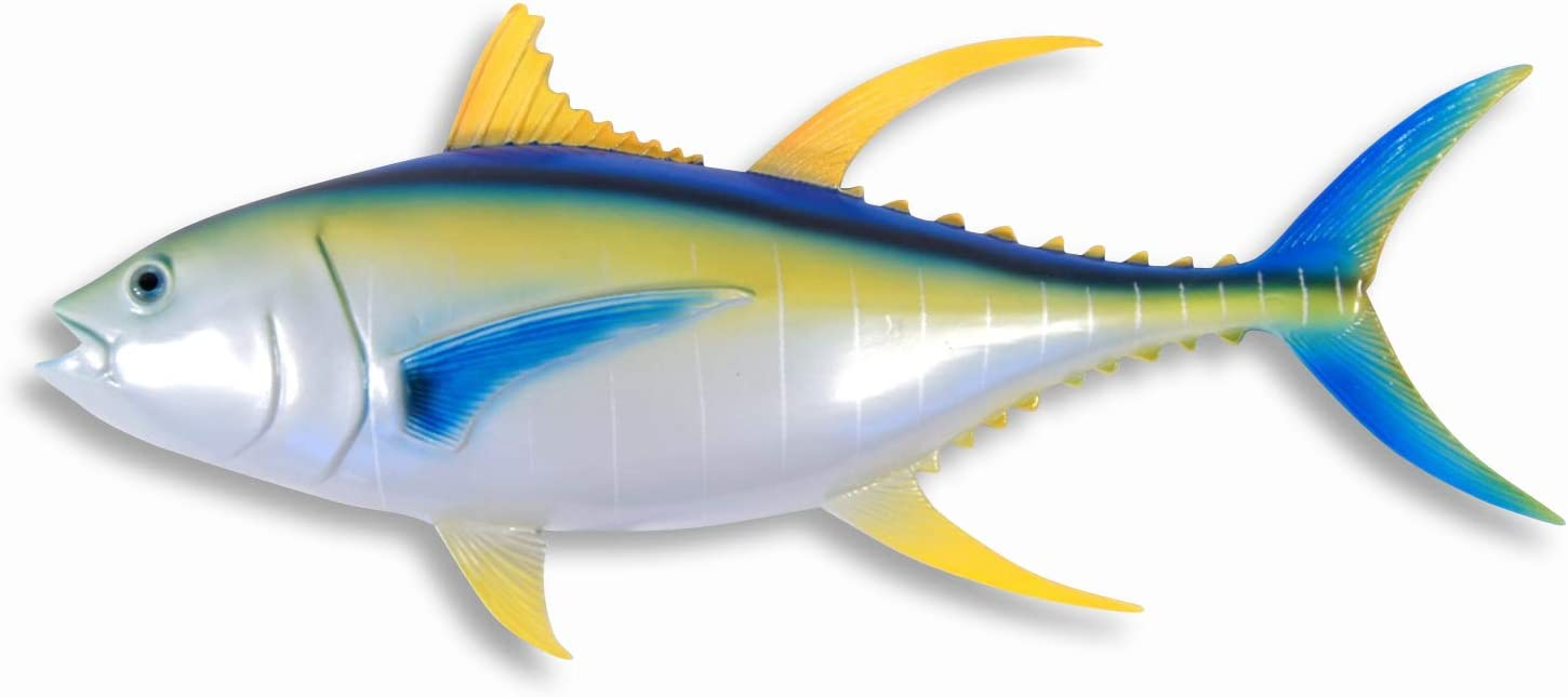 "Hand Painted Large 18"" Yellow Fin Tuna Salt Water Game Fish Wall Mount Decor Plaque"