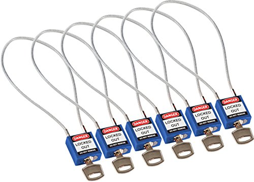 Brady 146134 Compact Cable Padlocks, 5-Pin Cylinder, 8.0