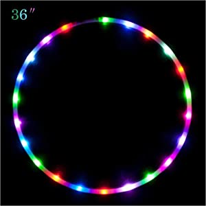 """Maikerry 36"""" Led Hula Hoop for for Kids and Adults Changing LED Lights Light Weight Hula Hoops"""