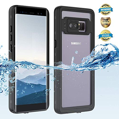 Samsung Galaxy note 8 Waterproof Case, Shockproof Dustproof Snowproof Hard Shell Full-Body Underwater Protective Box Rugged Cover and Built in Screen Protector for Galaxy note 8 (Black)