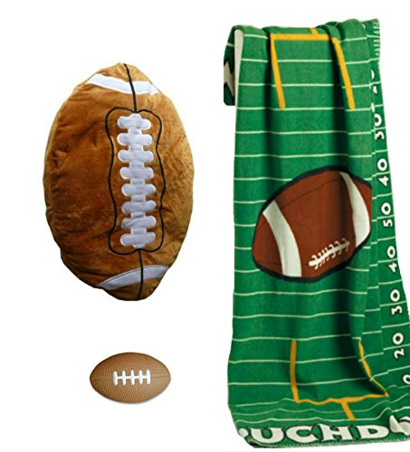 Price comparison product image Football Plush Pillow, Touchdown Fleece Throw Blanket & Stress Ball Bundle Combo