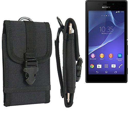 bolsa del cinturón / funda para Sony Xperia M2, negro | caja del teléfono cubierta protectora bolso - K-S-Trade (TM)