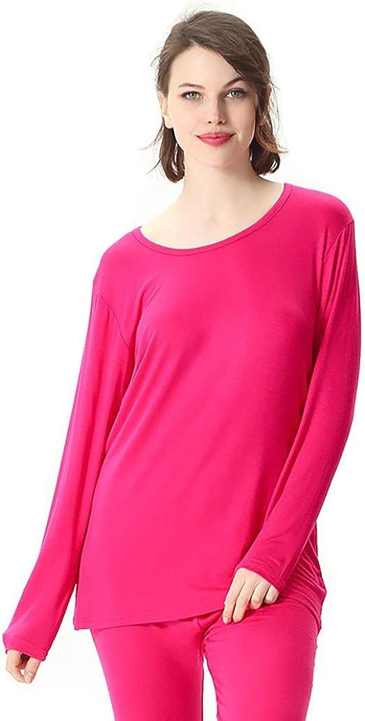 NACOZ - Pijama de Invierno de algodón Modal para Mujer, Talla Grande, Conjunto de Ropa Interior térmica Rojo Rosa Roja XL: Amazon.es: Ropa y accesorios