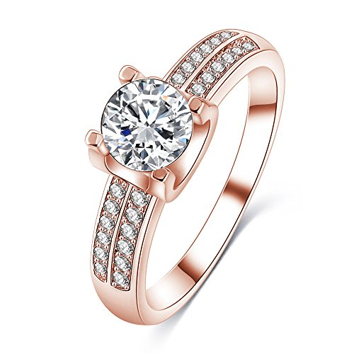LuckyWeng Solitaire Engagement Ring 2 Row Halo Micro Pave Small CZ Diamond 14K Rose Gold Women Size 6 7 8 9 -