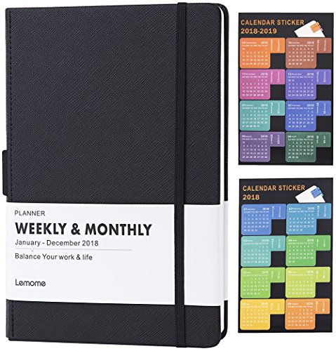 Planner 2018 with Pen Loop -Academic Weekly, Monthly and Yearly Planner. Dividers with Thick Paper to Achieve Your Goals & Improve Productivity, 5.75