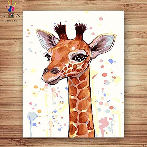KYKDY diy Farbe zum Malen nach Zahlen Giraffe Essen Gras Tiere Bilder Malen nach Zahlen mit Farben für Kinder 3 Stück Hoom Dekor, 0045,70x90 kein Rahmen 30x45 no frame
