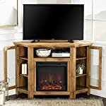 Walker Edison Alcott Classic Glass Door Fireplace Corner TV Stand for TVs up to 55 Inches, 48 Inch, Barnwood Brown
