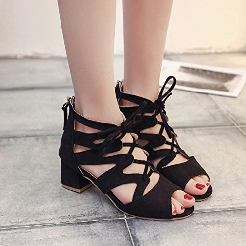 HARRYSTORE Women's Emmie Lace up Chunky Heel Peep Toe Gladiator Bootie Sandal Shoe Faux Suede Lace-up Gladiator Ankle High Booties Black SnBwd3