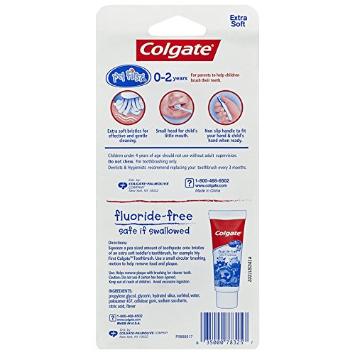 51Nebz2RygL - Colgate My First Baby And Toddler Toothbrush And Fluoride Free Toothpaste Set For Ages 0-2 Years
