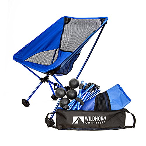 Terralite Portable Camp / Beach Chair Perfect For Beach, Camping, Backpacking, & Outdoor Festivals. Compact & Heavy Duty (Supports 350 lbs). Includes TerraGrip Feet- Won't Sink In the Sand or Mud. (Portable Travel Camping Chair)