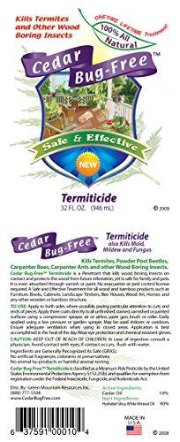 Termite Control - Cedar Bug-Free Termiticide. Natural Termite Treatment. Termite Spray - 32 oz by Cedar Bug-Free (Image #1)