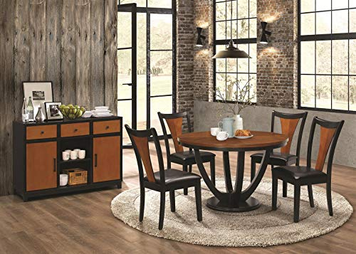 Coaster Home Furnishings Boyer 5-Piece Round Table Dining Set Black and Amber (Dining Butterfly Set)