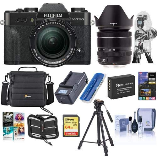Fujifilm X-T30 Mirrorless Camera with XF 18-55mm f/2.8-4 R LM OIS Lens Black – Bundle With Camera Case, 64GB SDXC Card, Spare Battery, Compact Charger, Software Package, Tripod, Cleaning Kit, And More