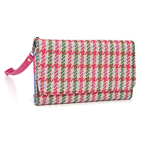 kroo-clutch-wristlet-wallet-case-for-smartphones-up-to-52-inch-non-retail-packaging-pink-houndstooth