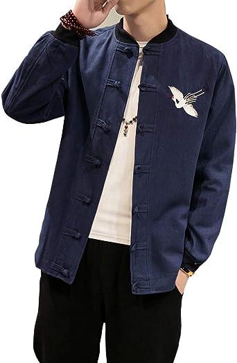 Shaoyao Hombre Camisa Bordado Abrigos Chaqueta Retro Estilo Chino Traje Tang: Amazon.es: Ropa y accesorios