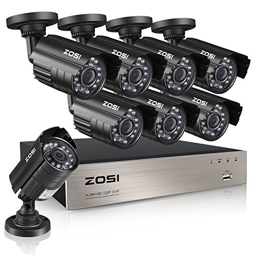 I 720P 1080N Video Security DVR Surveillance Camera Kit 8X 1280TVL Indoor Outdoor IR Weatherproof Cameras 65feet 20m Night Vision with IR Cut NO Hard Drive ()
