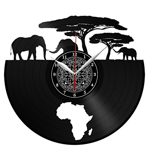 Africa Vinyl Record Wall Clock Decor Fan Art Handmade Unique Design Original Gift