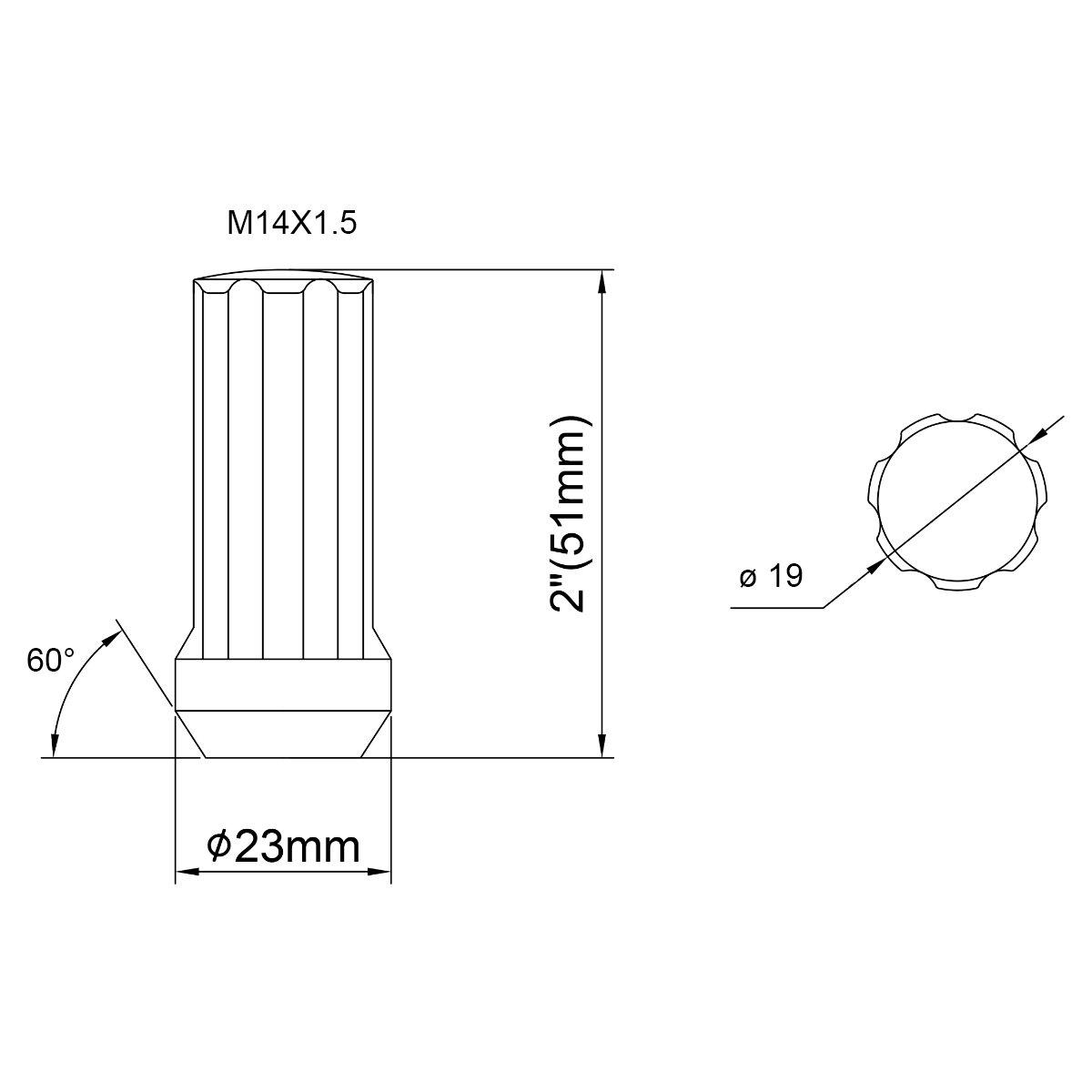 Dynofit 14mmx1.5 Wheel Lug Nuts,4X Black M14x1.5 Lug Nut,Conical//Cone Bulge Seat
