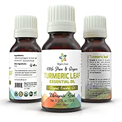 Organic Turmeric Leaf Oil - 15ml. Aromatherapy Essential Oil. USDA Certified Organic. 100% Pure, Original and All Natural. Ayurveda Grade.