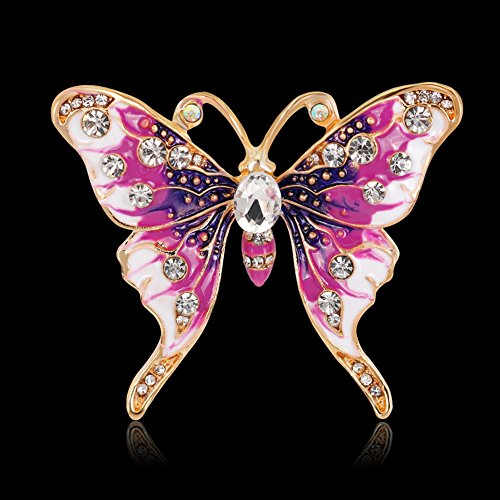 Finance Plan Women Retro Butterfly Multicolor Enamel Shiny Rhinestone Brooch Pin Jewelry Gift by Finance Plan (Image #2)