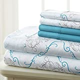 Spirit Linen Hotel 5Th Ave Prestige Home Collection 6 Piece Sheet Set, King, Turquoise Medallion
