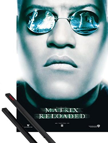 Poster + Hanger: The Matrix Poster (39x28 inches) Reloaded, Morpheus, Sunglasses And 1 Set Of Black 1art1 Poster - Morpheus Matrix Sunglasses