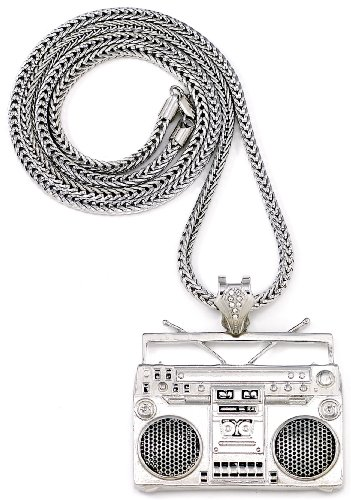 GWOOD Boom Box Silver Color Pendant Necklace With 36 Inch Franco Style Chain (Mens Boombox)