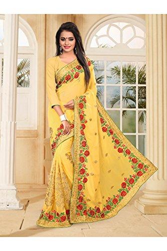 Wedding Wear Sarees Yellow Traditional Sari Designer Party Da Indian Women For Facioun q8UFXF