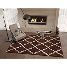 "Brown 5x8 ( 5'3"" x 7'3"" ) Area Rug Trellis Morrocan Modern Geometric Wavy Lines Area Rug Living Dining Room Bedroom Rug Resistant Carpet Contemporary Soft Plush Quality"