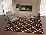Brown 8x11 ( 7'10'' x 10'6'' ) Area Rug Trellis Morrocan Modern Geometric Wavy Lines Area Rug Living Dining Room Bedroom Rug Resistant Carpet Contemporary Soft Plush Quality