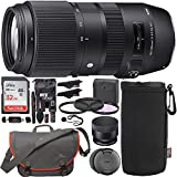 Sigma 100-400mm f/5-6.3 DG OS HSM Contemporary Lens for Canon EF, Sandisk Ultra 32GB Memory Card, Lowepro Passport Messenger Messenger Bag, Filter Kit, Lens Pouch, Card Reader and Accessory Bundle