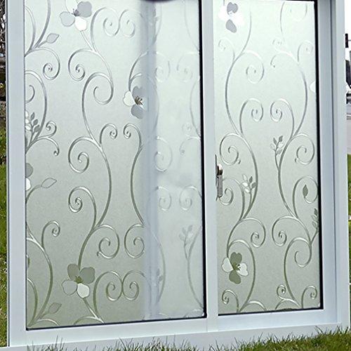 Neuest ARUHE® Statische Elektrizität Wiederverwendung Fensterfolien Glasfolien ohne Klebstoff Glass-Window-Stickers Fensterschutz Sichtschutzfolie 90*200cm Blume
