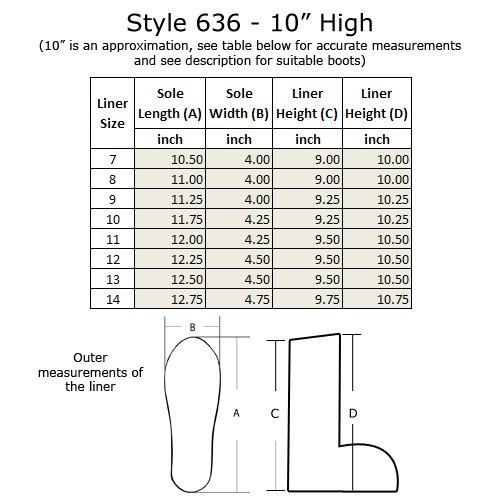Boot Liner 636 - 10 Alto, Taglie 7-14